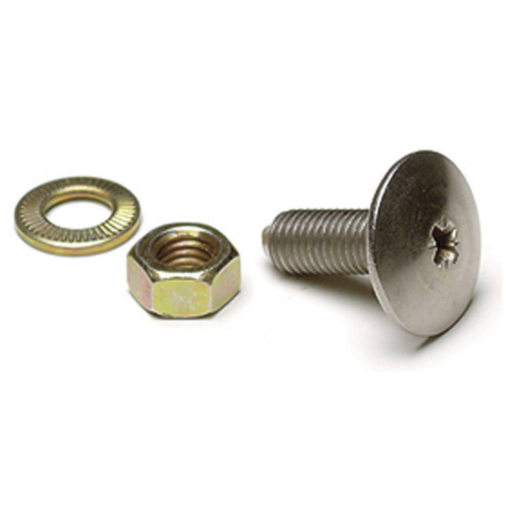 POLISHED STAINLESS STEEL SCREW + WASHER + NUT (1 PIECE)