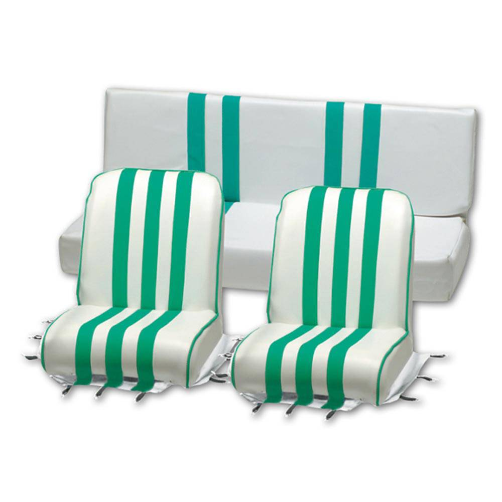 MEHARI SEAT COVER SET -  GREEN AND WHITE
