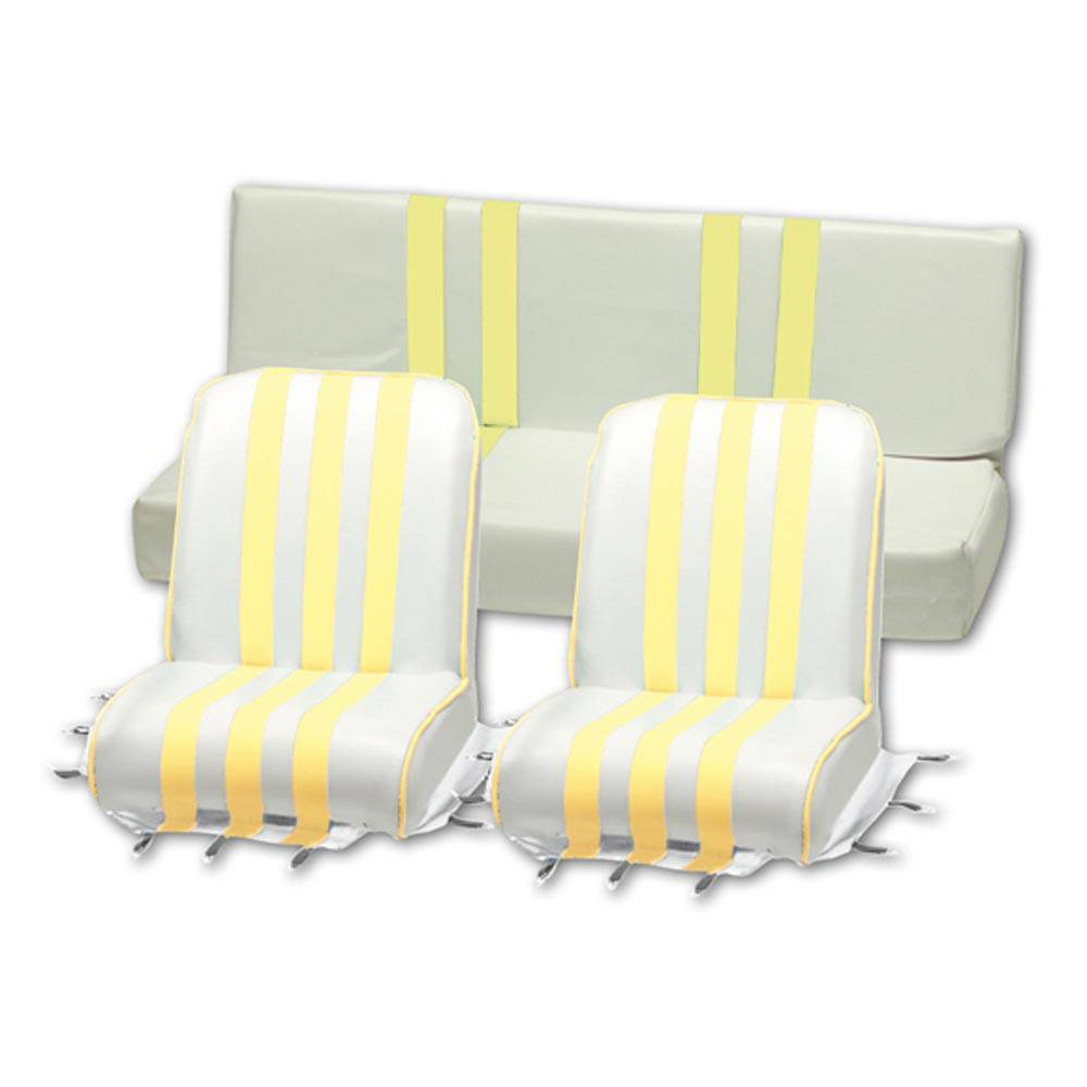 LOT 3 GARNITURES SIEGE MEHARI                      JAUNE - BLANC