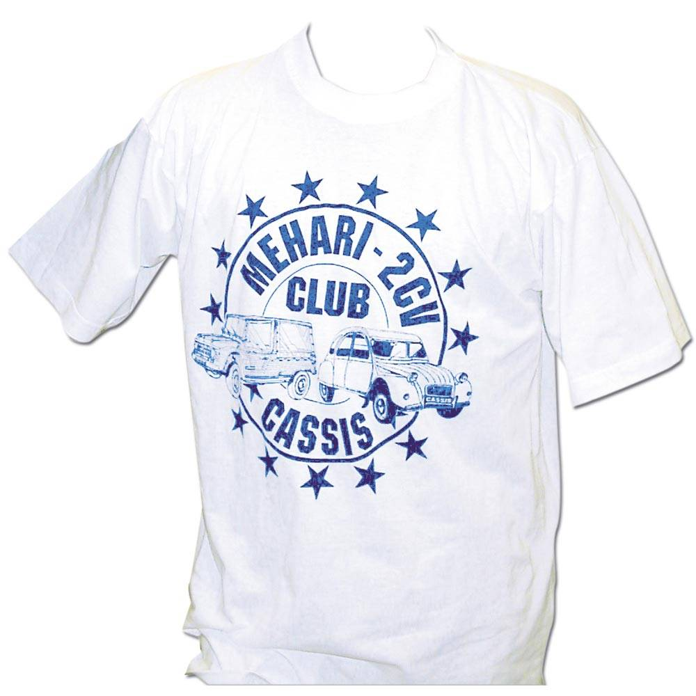 vente t shirt logo mehari 2cv club cassis lot de5 2cv mehari club cassis. Black Bedroom Furniture Sets. Home Design Ideas