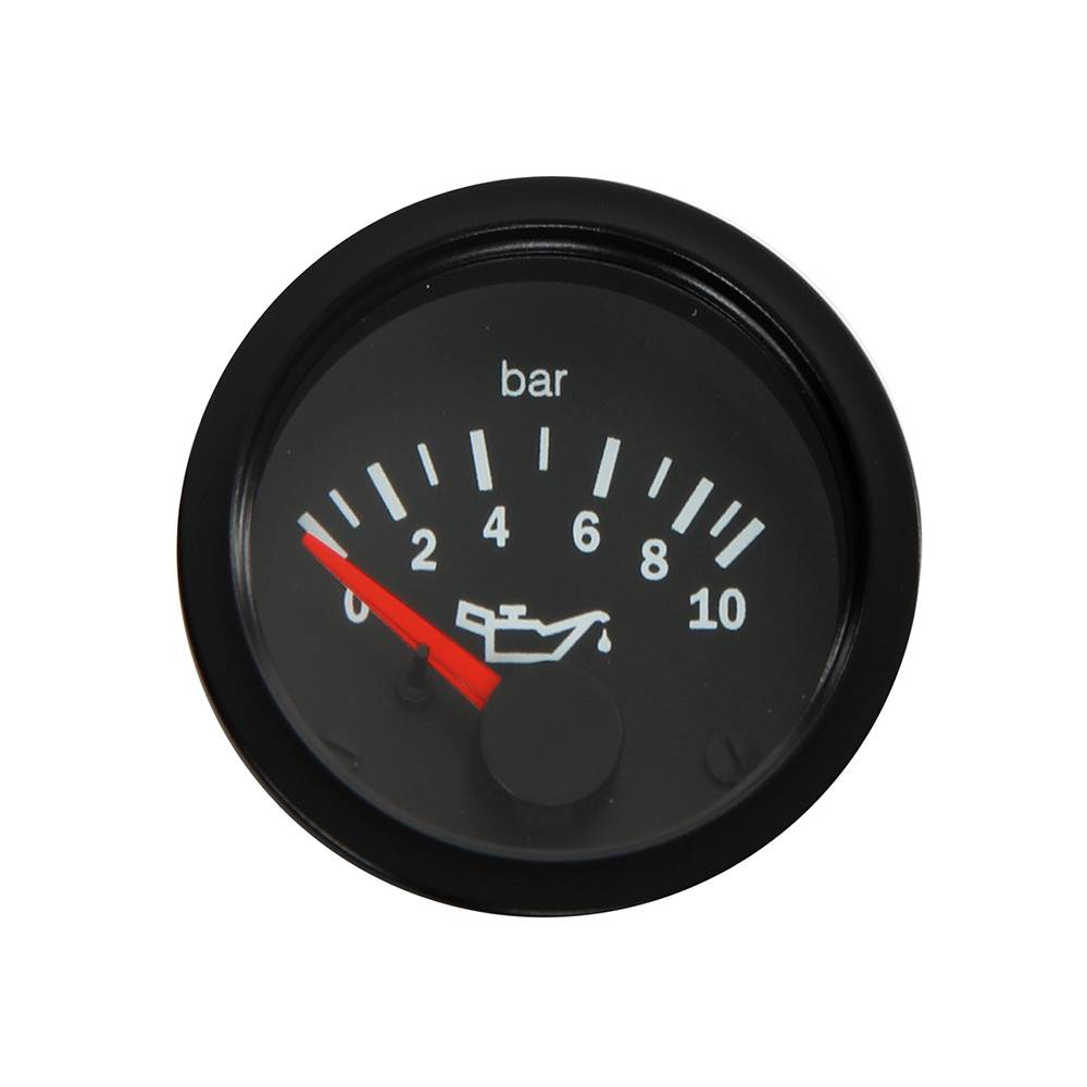 OIL PRESSURE GAUGE 0 - 10 BAR (52MM) - BLACK