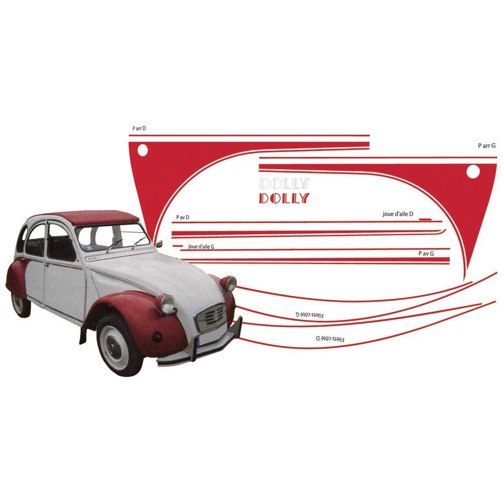 ADHESIFS 2CV DOLLY ROUGE (collection complete)
