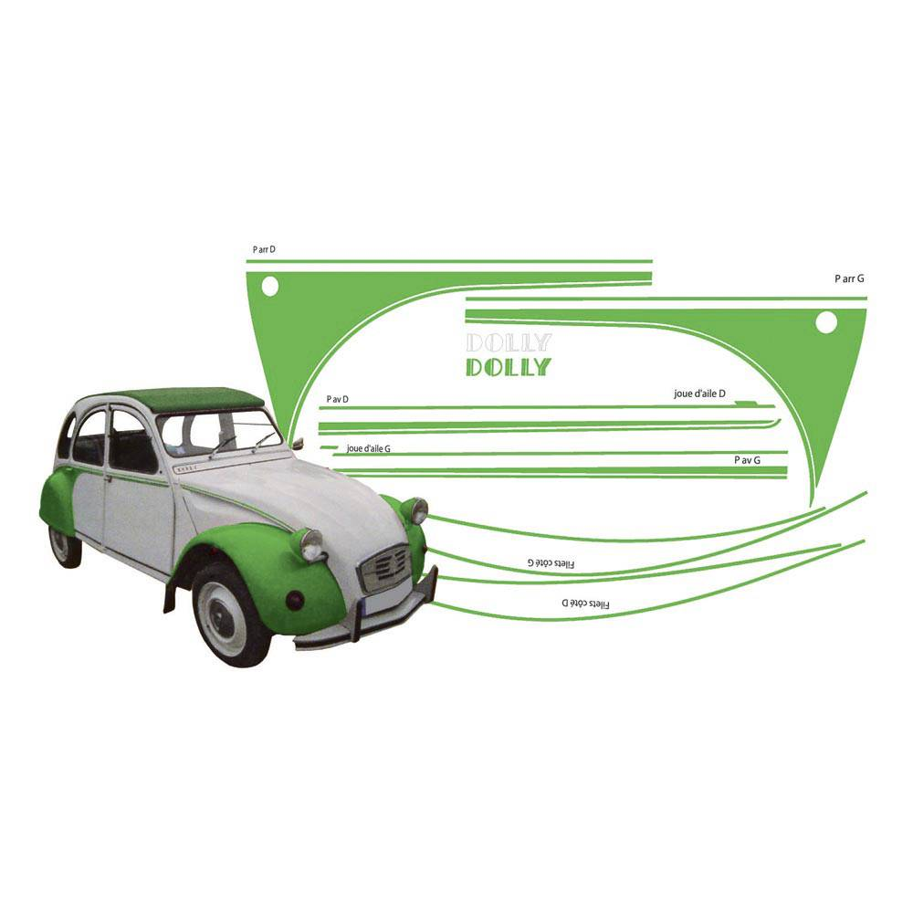 ADHESIFS 2CV DOLLY VERT (collection complète)