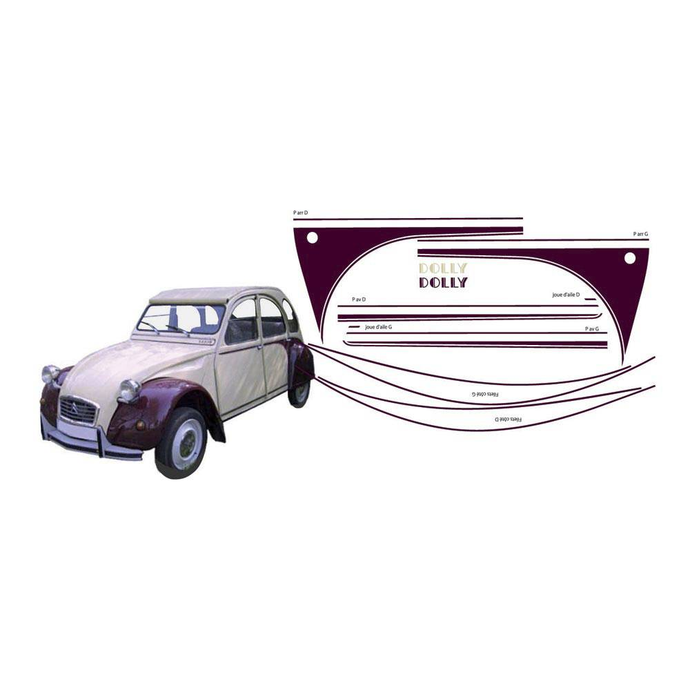ADHESIFS 2CV DOLLY BORDEAUX (collection complète)