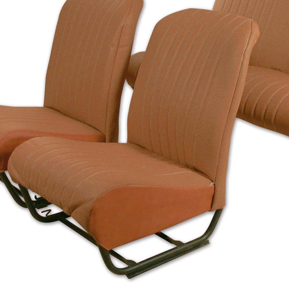 2CV/DYANE FRONT LEFT SEAT COVER WITH SIDES – PERFORATED BROWN SKAI