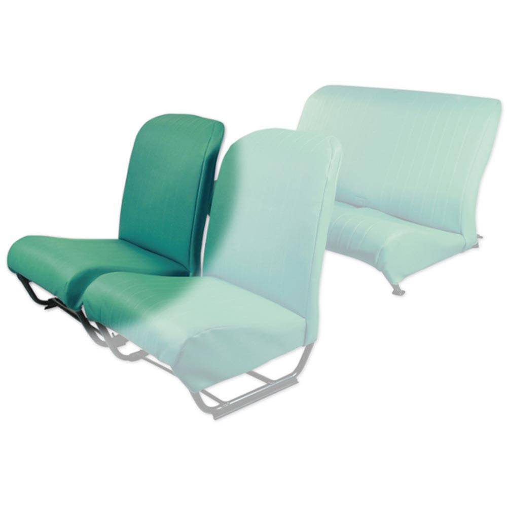 2CV/DYANE FRONT RIGHT SEAT COVER WITH SIDES – LAGOON GREEN SKAI