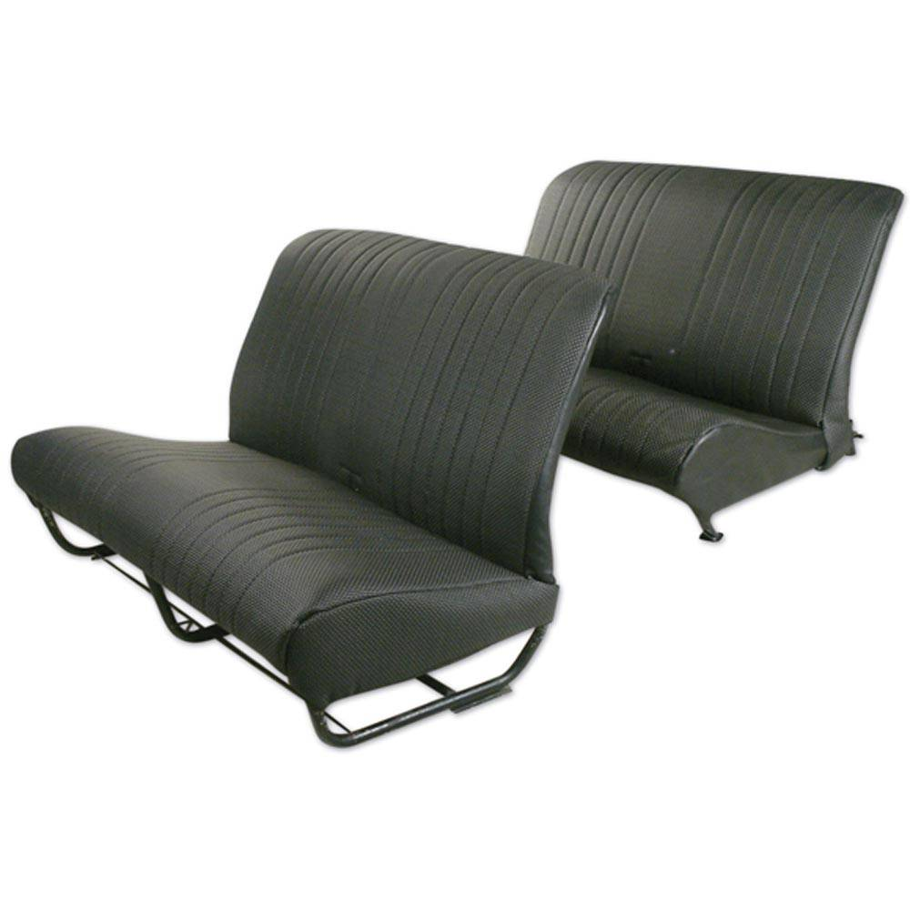 2CV/DYANE BENCH UPHOLSTERY SET WITH SIDES - PERFORATED BLACK SKAI