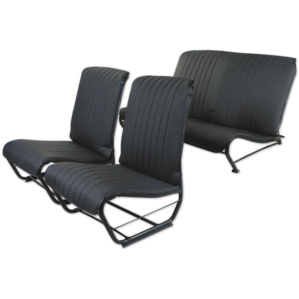 2CV/DYANE UPHOLSTERY SET WITHOUT SIDES - PERFORATED BLACK SKAI