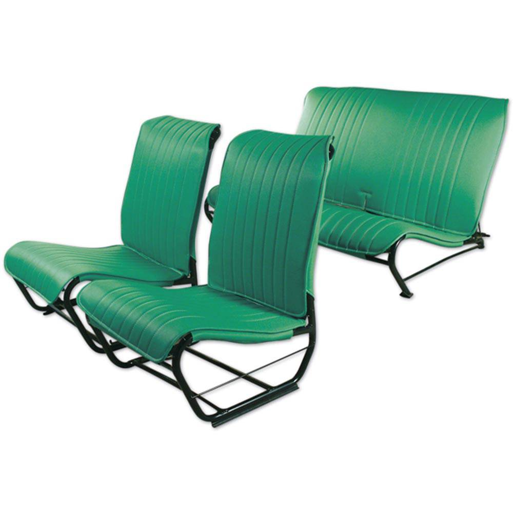 2CV/DYANE UPHOLSTERY SET WITHOUT SIDES – LAGOON GREEN SKAI