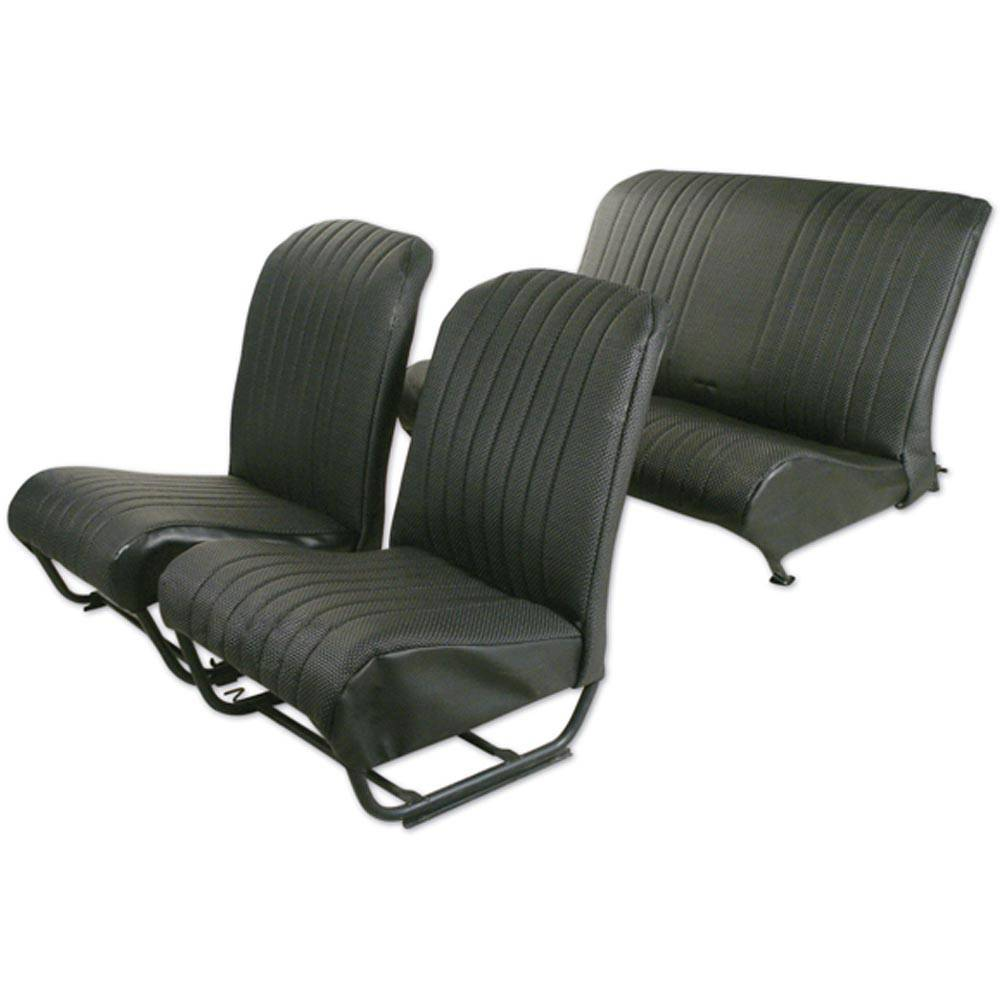 2CV/DYANE UPHOLSTERY SET WITH SIDES – PERFORATED BLACK SKAI