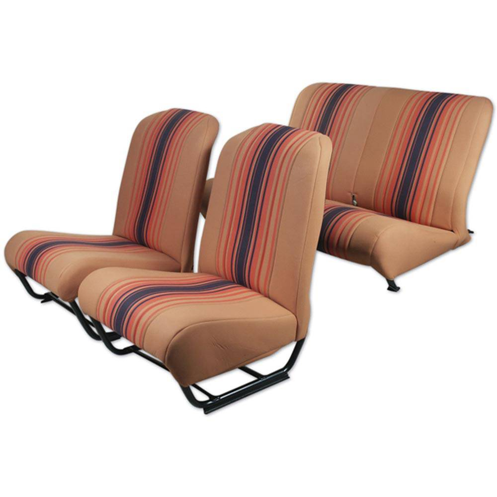 2CV/DYANE UPHOLSTERY SET WITH SIDES – ORANGE RAYE