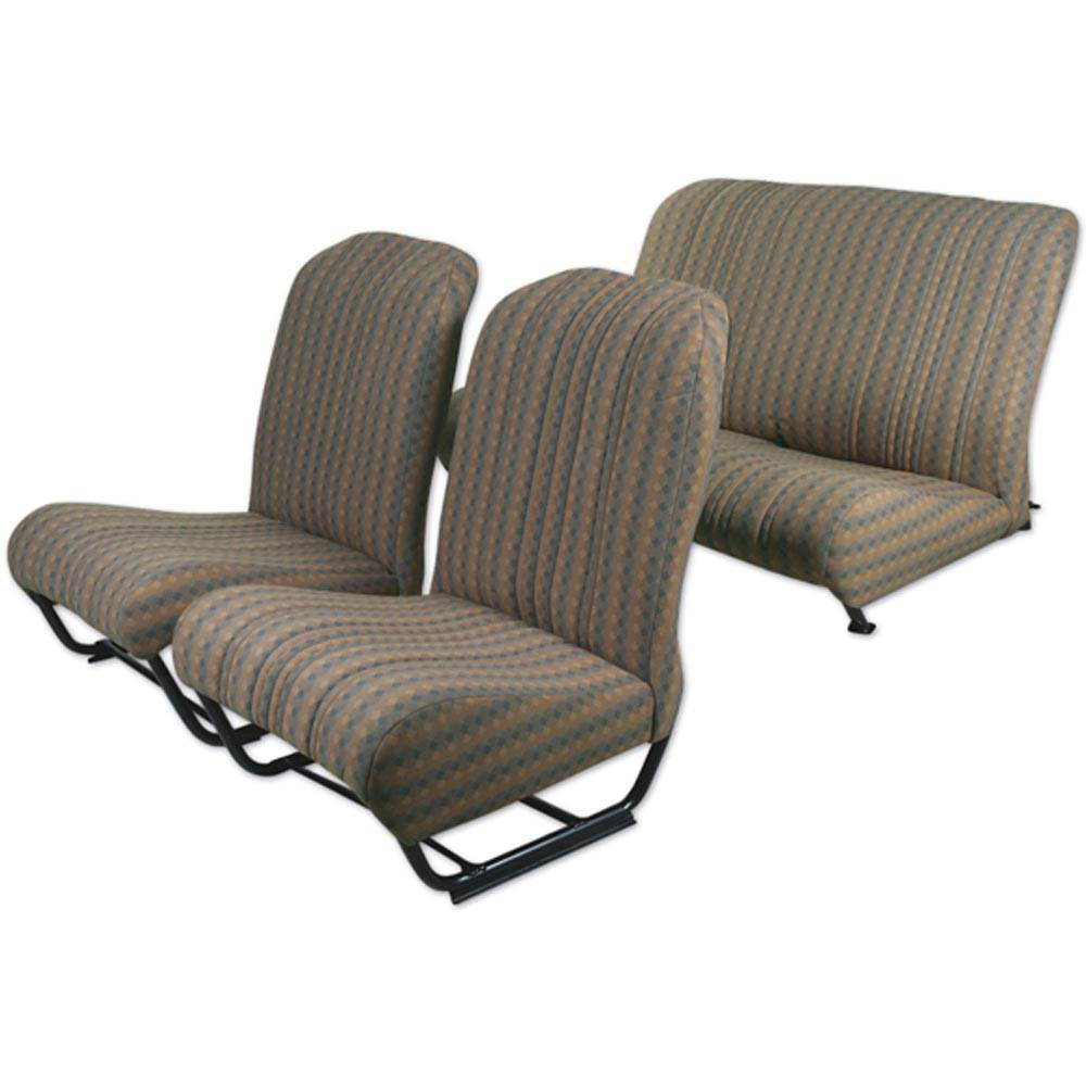 2CV/DYANE UPHOLSTERY SET WITH SIDES – BROWN DAMIER