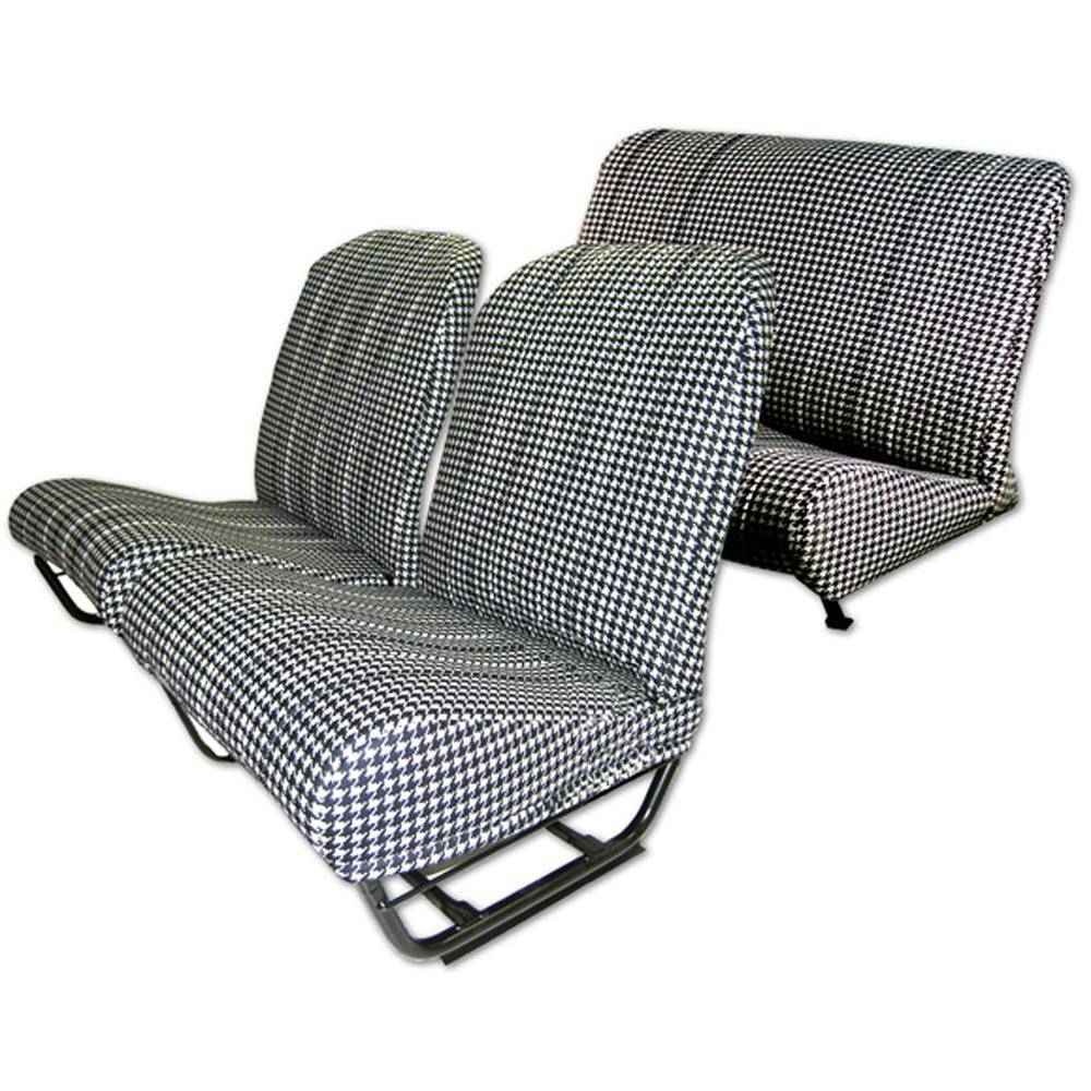 2CV/DYANE UPHOLSTERY SET WITH SIDES – PIED POULE BLACK