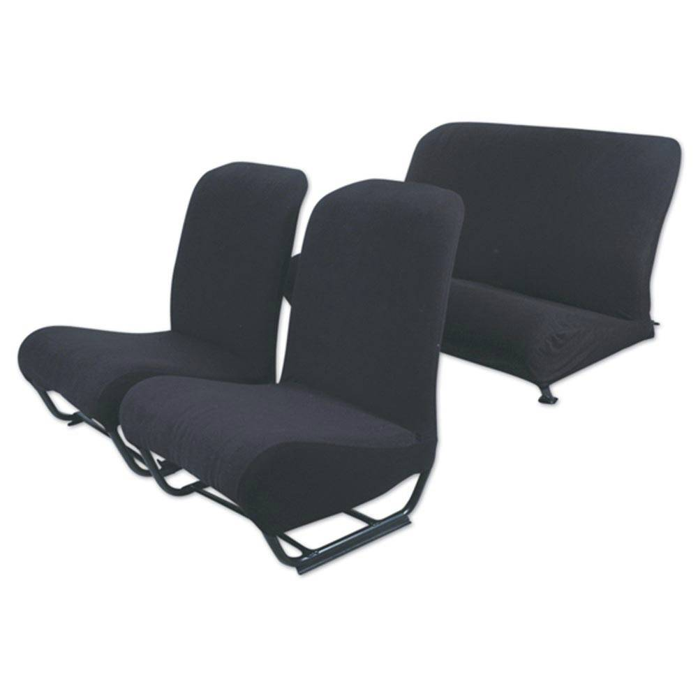2CV/DYANE UPHOLSTERY SET WITH SIDES (FOAM MATERIAL) – BLACK