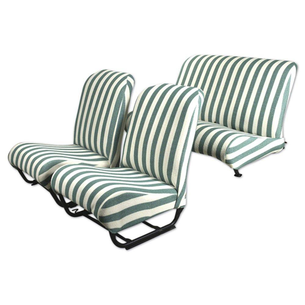 2CV/DYANE UPHOLSTERY SET WITH SIDES (FOAM MATERIAL) – GREEN AND WHITE